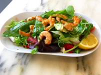 Prawns and salad